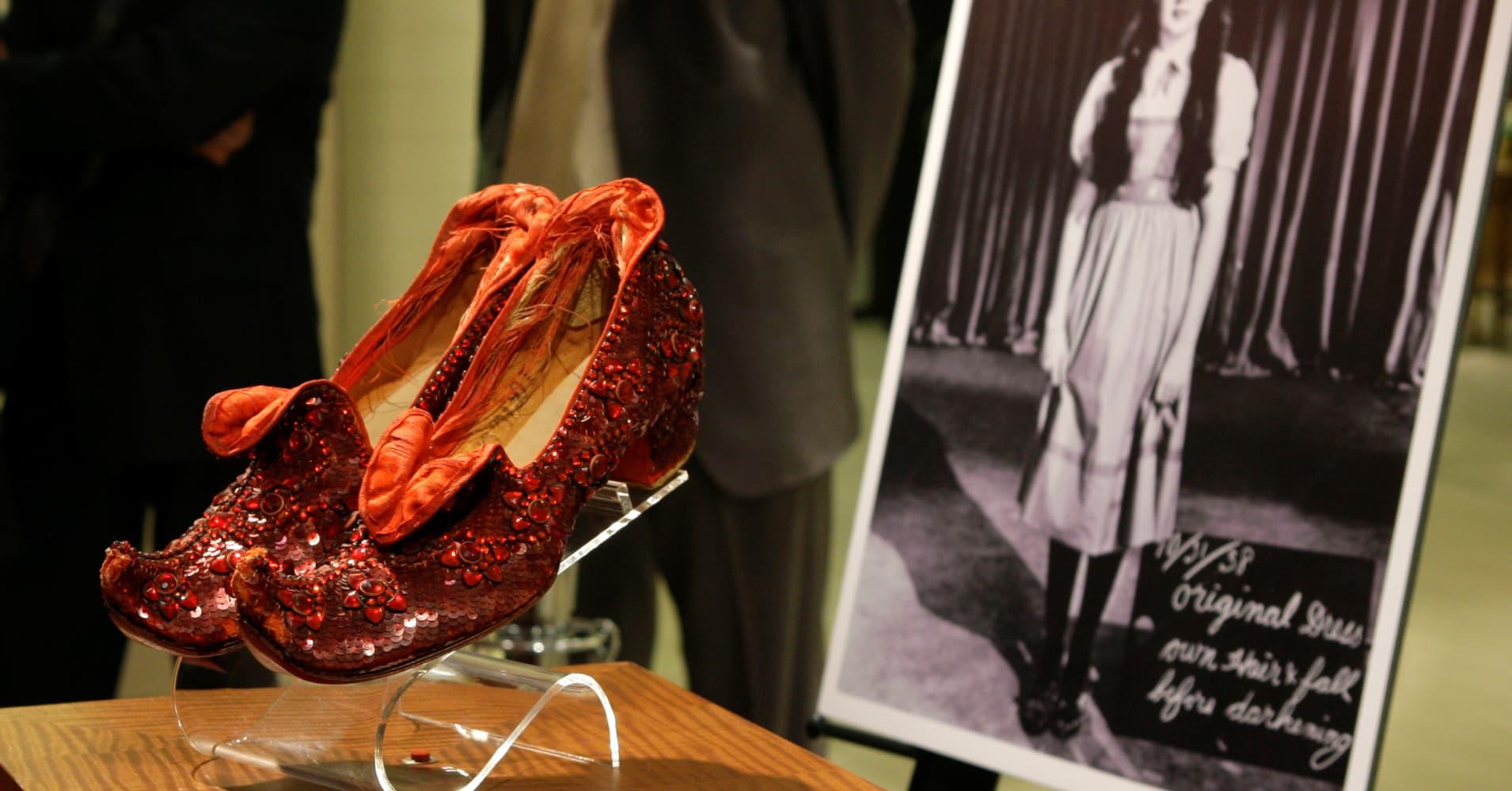 Stolen Ruby Slippers Worn By Judy Garland In Wizard Of Oz
