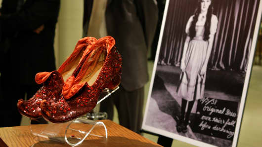 """Judy Garland's Arabian ruby slippers, one of five pairs designed by Adrian Greenberg of MGM studios and worn by Garland for test and wardrobe shots in the 1939 film """"The Wizard of Oz, """" are displayed at Saks Fifth Avenue in New York, Thursday, Sept. 4, 2008."""