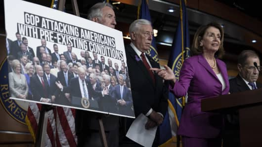 House Minority Leader Nancy Pelosi,  (D-CA) gestures during a news conference held by House Democrats condemning the Trump Administration's targeting of the Affordable Care Act's pre-existing condition, in the US Capitol on June 13, 2018 in Washington, DC.