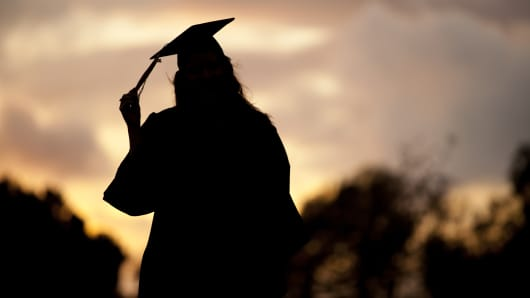 Silhouette Portrait of a graduate in cap and gown
