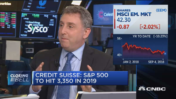 Credit Suisse: S&P 500 to hit 3,350 in 2019