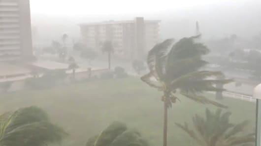 Trees sway as Storm Gordon descends on Fort Lauderdale, Florida, U.S., September 3, 2018.