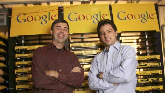 Larry Page (L), Co-Founder and President, Products, and Sergey Brin, Co-Founder and President, Technology, at Google's campus headquarters.