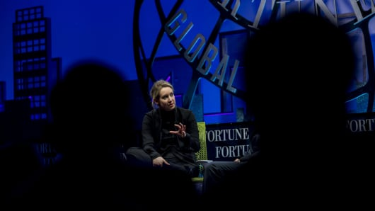 Billionaire Elizabeth Holmes, founder and chief executive officer of Theranos Inc., speaks during the 2015 Fortune Global Forum in San Francisco, California, U.S., on Monday, Nov. 2, 2015.