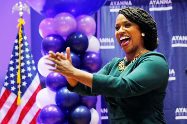 Democratic candidate for U.S. House of Representatives Ayanna Pressley takes the stage after winning the Democratic primary in Boston, Massachusetts, September 4, 2018.