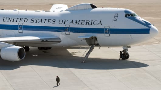 An E-4B aircraft sits on the tarmac at Travis Air Force Base, California.
