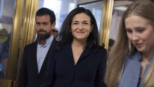 Sheryl Sandberg, Facebook COO, and Jack Dorsey, Twitter CEO, arrive to testify before a Senate Intelligence Committee hearing in Dirksen Building on the influence of foreign operations on social media on September 5, 2018.
