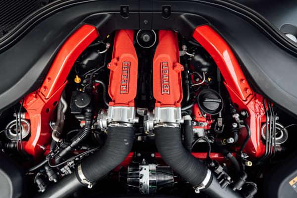 A 3.9-liter V8 engine is seen in the Ferrari Portofino