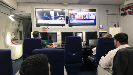 The briefing room on the E-4B plane.