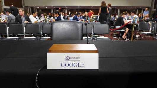 The Senate Select Committee on Intelligence left a chair empty after Google executives declined invites to testify at a  hearing on foreign meddling in the 2016 U.S. presidential election.