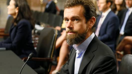 Twitter CEO Jack Dorsey is seated prior to testifying before a Senate Intelligence Committee hearing on foreign influence operations on social media platforms on Capitol Hill in Washington, September 5, 2018.