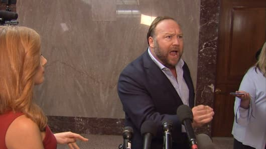 Alex Jones speaks out outside the Twitter Senate hearing in Washington, D.C. on Sept. 5th, 2018.