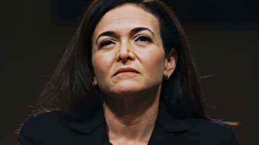 Sheryl Sandberg, chief operating officer of Facebook Inc., listens during a Senate Intelligence Committee hearing in Washington, D.C., U.S., on Wednesday, Sept. 5, 2018.