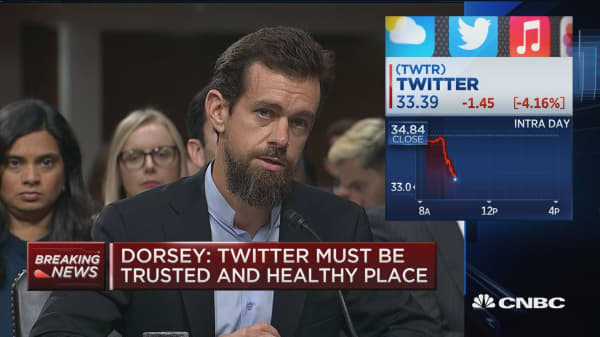 Dorsey: Each party's tweets essentially viewed equally