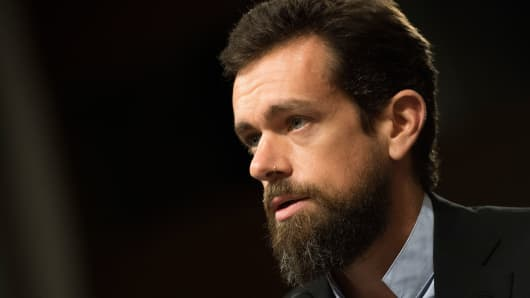 CEO of Twitter Jack Dorsey testifies before the Senate Intelligence Committee on Capitol Hill in Washington, DC, on September 5, 2018. (Photo by Jim WATSON / AFP)        (Photo credit should read JIM WATSON/AFP/Getty Images)