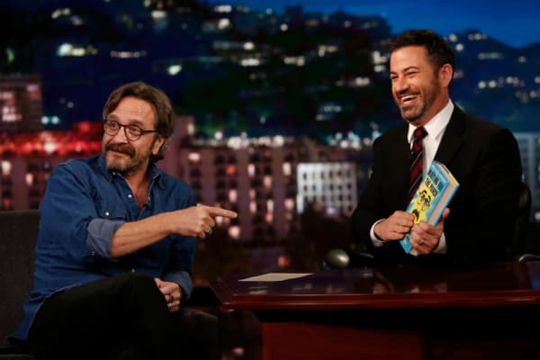 Podcast host Marc Maron (left) appears on Jimmy Kimmel Live in October 2017