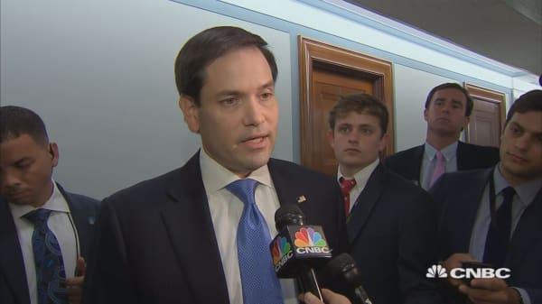 Alex Jones and Sen. Marco Rubio outside social media hearing