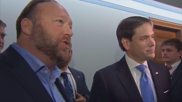 Alex Jones and Sen. Marco Rubio square off outside Senate hearing