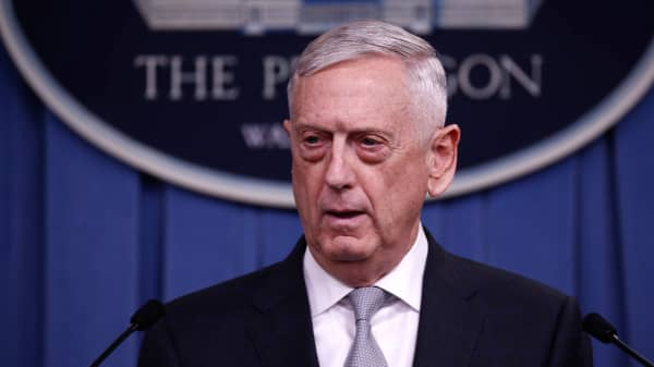 U.S. Defense Secretary Jim Mattis briefs members of the media on Syria at the Pentagon in Washington, United States on April 13, 2018.