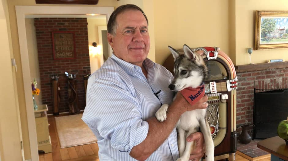 Nothing puts a smile on Bill Belichick's face like his dog Nike