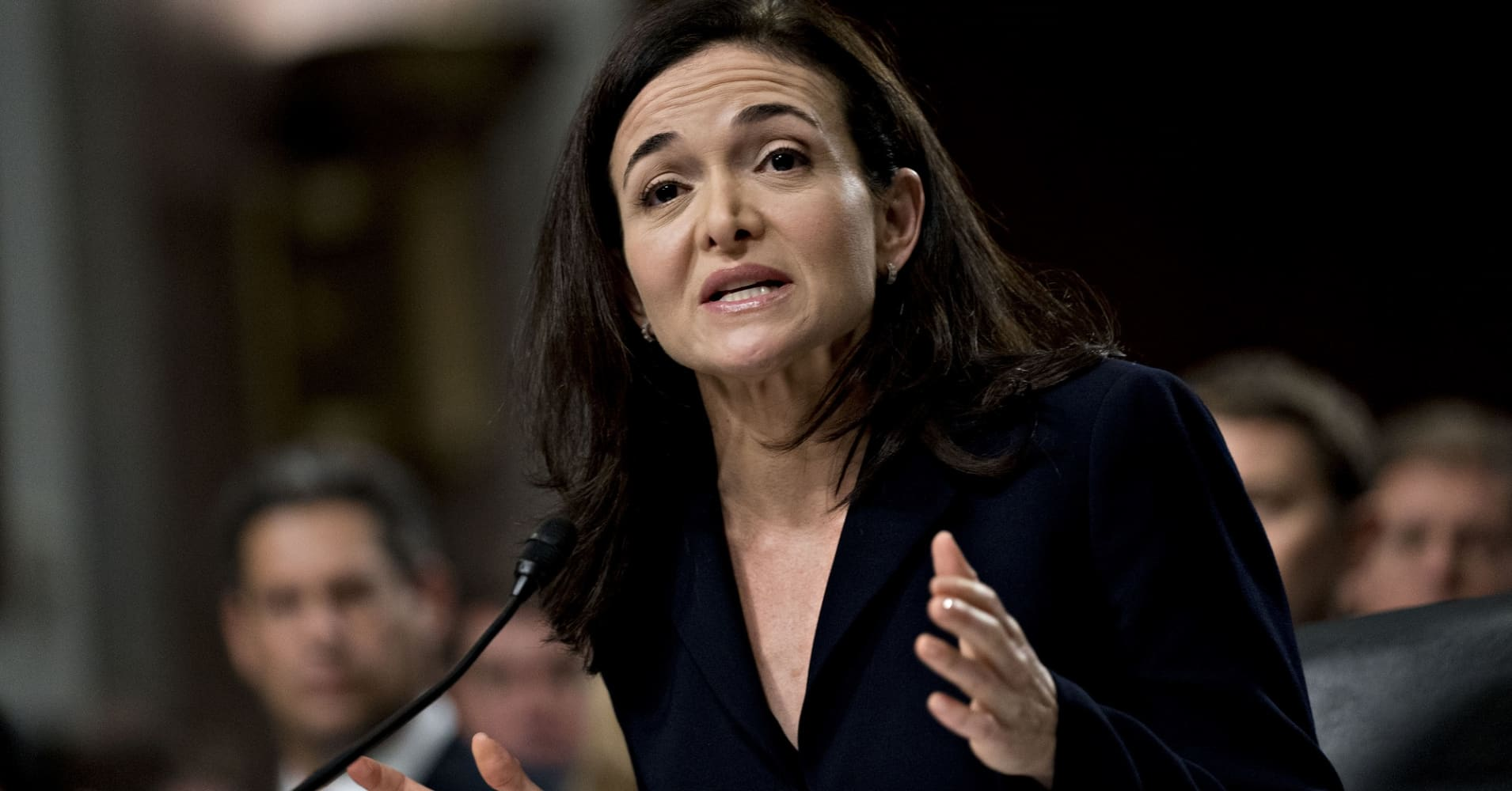 Sheryl Sandberg, chief operating officer of Facebook Inc., speaks during a Senate Intelligence Committee hearing on Wednesday.