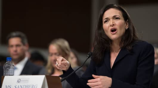 Facebook COO Sheryl Sandberg testifies before the Senate Intelligence Committee on September 5, 2018.