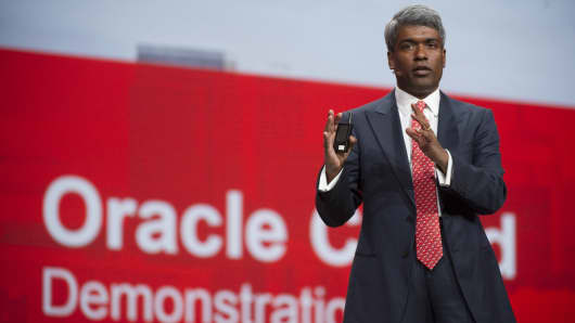 Thomas Kurian, Oracle's president of product development, speats at Oracle's 2013 OpenWorld conference in San Francisco.