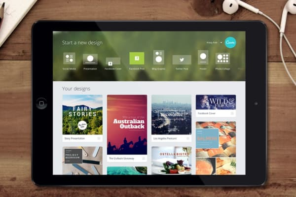 Canva's design platform in use on an iPad
