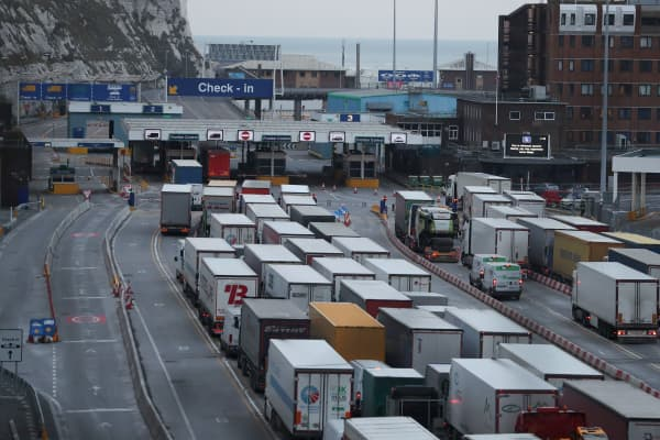 Lorries queue up at the port of Dover on the south coast of England.