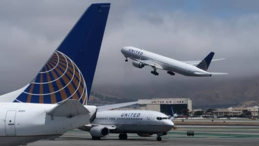 A United Airlines airplane takes off at San Francisco International Airport.