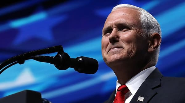 Vice President Mike Pence speaks at the NRA-ILA Leadership Forum during the NRA Annual Meeting & Exhibits at the Kay Bailey Hutchison Convention Center on May 4, 2018 in Dallas, Texas.