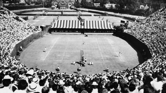 A view from the West Side Tennis Club's horseshoe stadium during a championship match between Pancho Gonzales and Ted Schroeder on September 5, 1949.