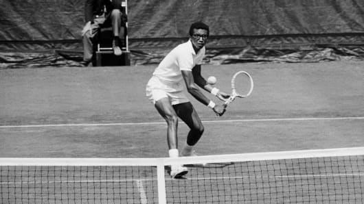 Arthur Ashe in the U.S. Open tennis championships at Forest Hills, 1968.
