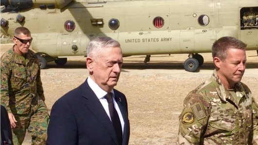 Defense Secretary James Mattis arrives in Kabul, Afghanistan on September 7, 2018.