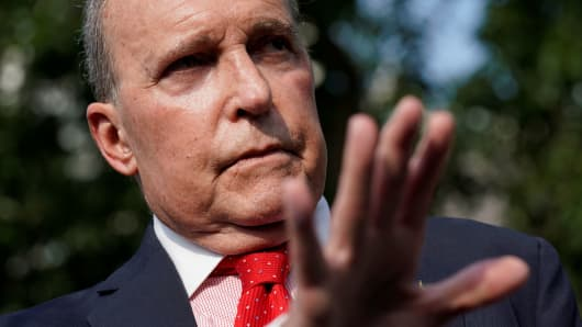 Top White House economic adviser Larry Kudlow speaks to reporters at the White House in Washington.