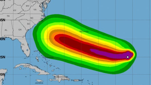 Tropical Storm Force Wind Speed Probabilities from 8:00AM AST Friday to 8:00AM AST Wednesday, Sept 12.