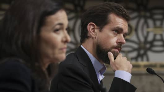 On Sept. 5, 2018, Facebook COO Sheryl Sandberg and Twitter CEO Jack Dorsey testify during a Senate Intelligence Committee hearing on Capitol Hill concerning foreign influence operations' use of social media platforms.