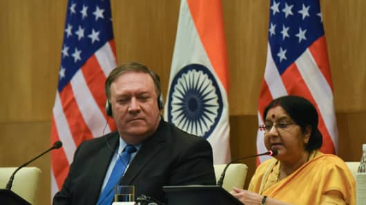 US Secretary of State Mike Pompeo (L) looks on as the Indian Foreign Minister Sushma Swaraj (R) present statements to the media following a meeting in New Delhi on September 6, 2018. Indraneel Chowdhury | NurPhoto | Getty Images