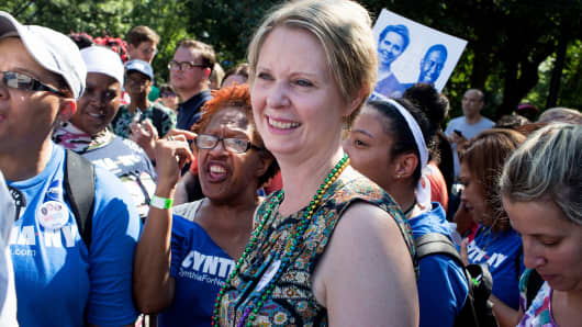 Cynthia Nixon campaigns for Governor of New York while marching in the West Indian Day Parade on September 3, 2018 in Brooklyn, New York.