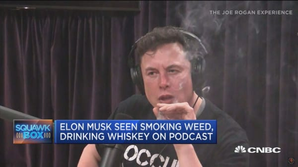 Elon Musk seen smoking weed on podcast
