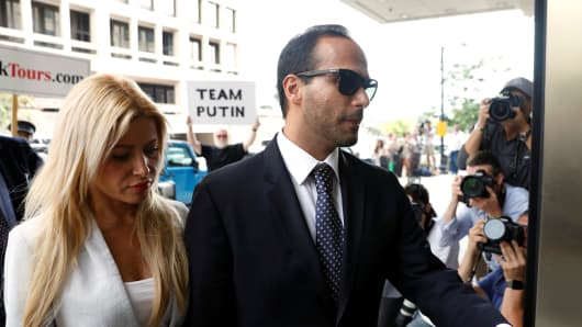 Former Trump campaign aide George Papadopoulos with his wife Simona Mangiante arrives for the sentencing hearing at U.S. District Court in Washington, U.S., September 7, 2018.
