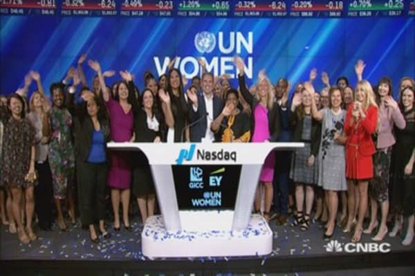 UN Women Coalition for Change ring the closing bell at the Nasdaq