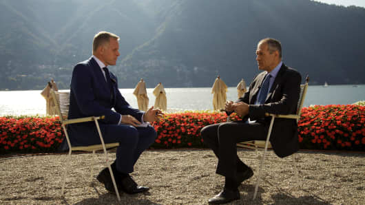 Italy's former prime minister designate, Carlo Cottarelli, sits down with CNBC's Steve Sedgwick at the Ambrosetti Forum in Italy on Saturday 8th September, 2018.