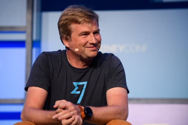 Kristo Kaarmann, Co-Founder & CEO, TransferWise, on Centre Stage during day one of MoneyConf 2018 at the RDS Arena in Dublin. (Photo By Eóin Noonan/Sportsfile via Getty Images)