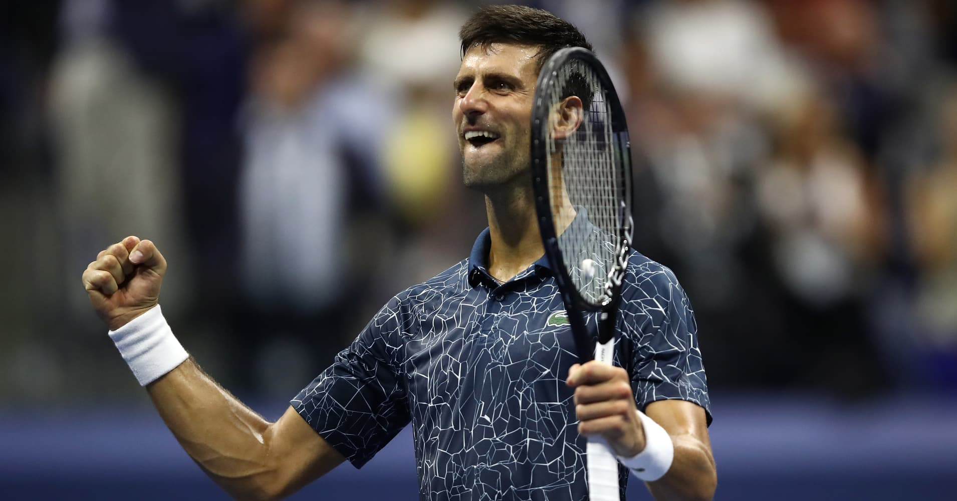 Novak Djokovic of Serbia celebrates his semifinal win at the 2018 US Open