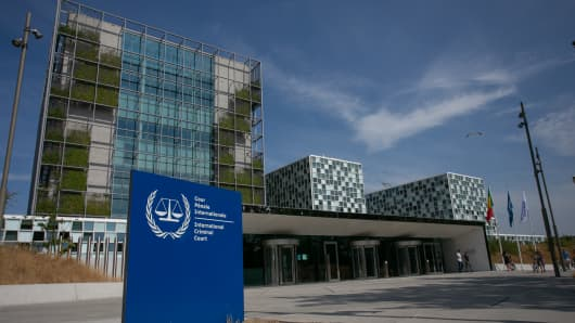 Exterior view of the International Criminal Court in The Hague, Netherlands.