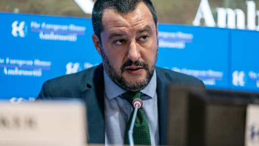Matteo Salvini, Italy's deputy prime minister speaks during the Ambrosetti Forum in Cernobbio, Italy, on Saturday, Sept. 8, 2018.