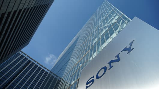 The logo of Japan's Sony Corp. is displayed in front of the company's headquarters in Tokyo.