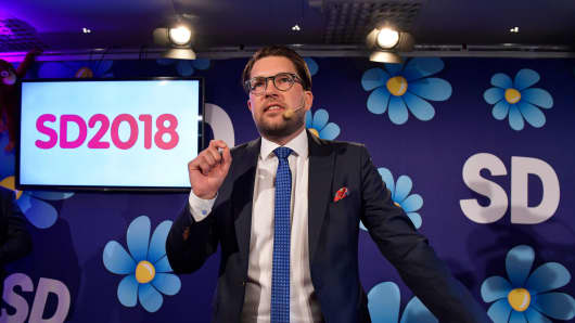 Jimmie Akesson of the Sweden Democrats speaks at the election party at the Kristallen restaurant in central Stockholm on September 9, 2018.