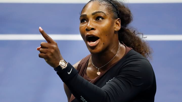 Serena Williams of the United States argues with umpire Carlos Ramos during her Women's Singles finals match against Naomi Osaka of Japan on Day Thirteen of the 2018 US Open at the USTA Billie Jean King National Tennis Center on September 8, 2018 in New York City.